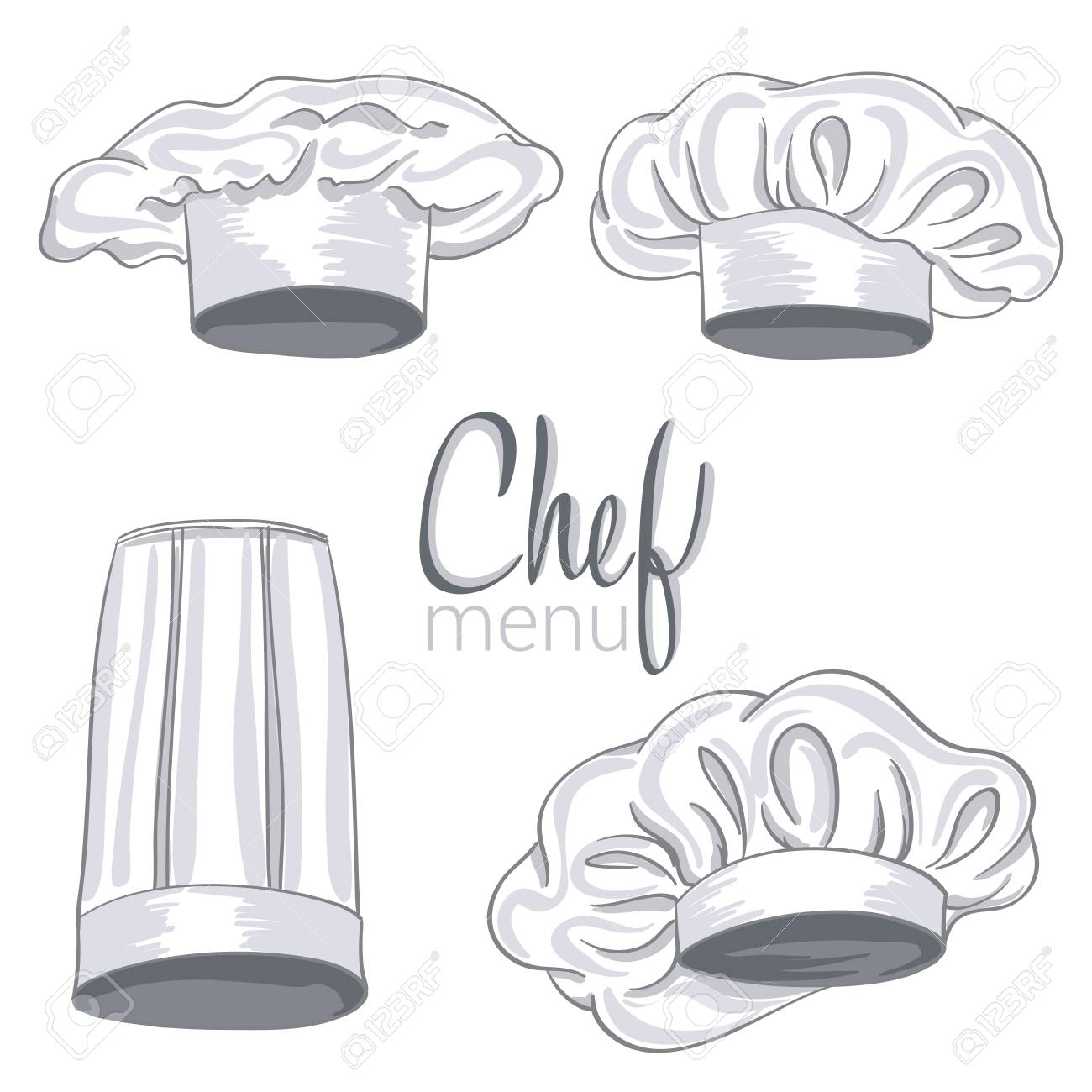 c9aa69f8 Collection of hand drawn chef hats on white. vector illustration. Stock  Vector - 74333943