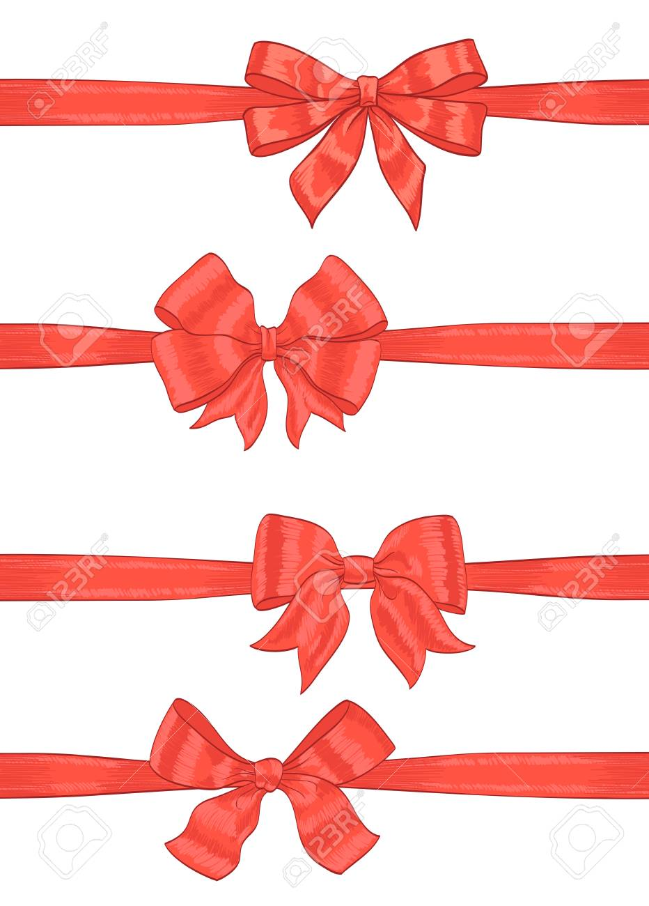 artistic hand drawn red ribbons bow on white vector royalty free