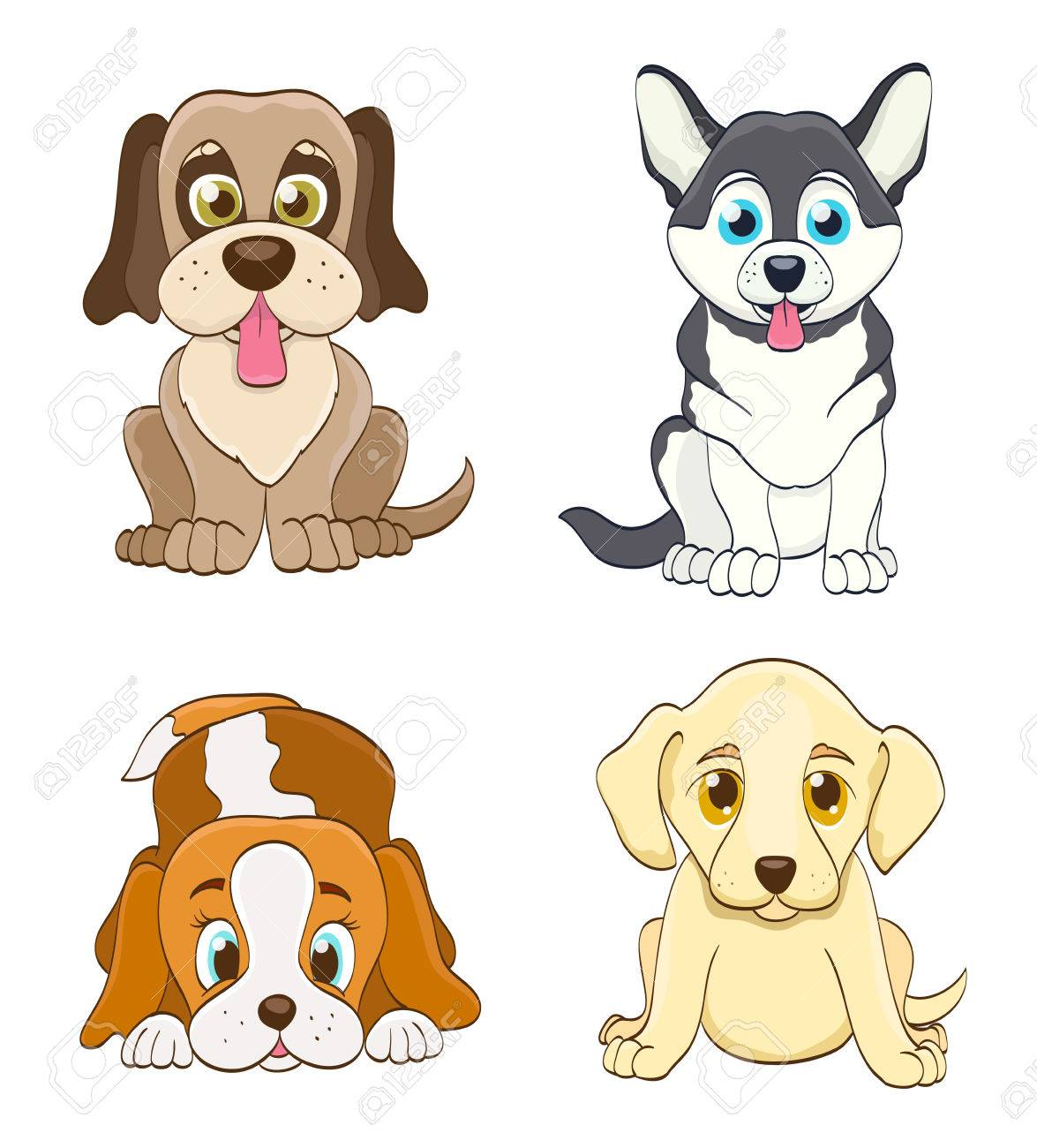 Conjunto De Perros De Perrito De Dibujos Animados Simple