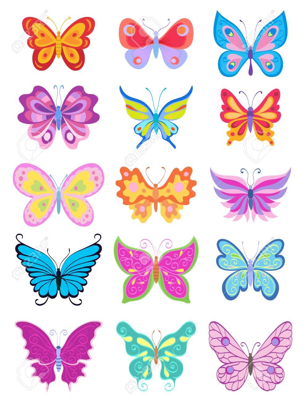 Conjunto De Mariposas De Dibujos Animados Ilustración Vectorial