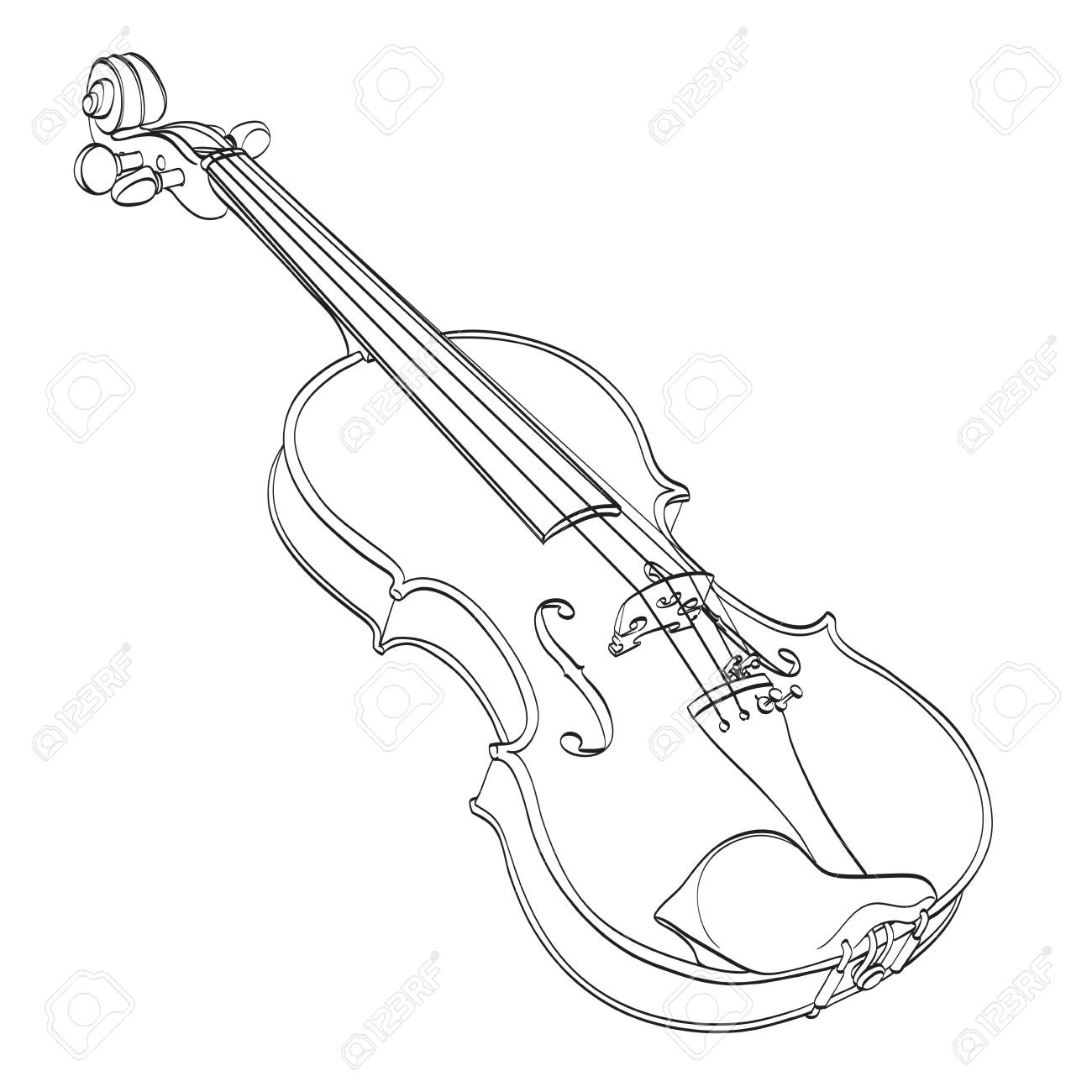 Violin Outline Drawing On White Hand Drawn Contour Line Of Wooden