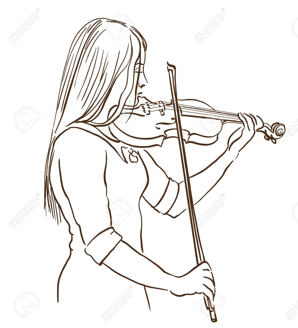 Young Woman Playing Violin Line Sketch Drawing Hand Drawn