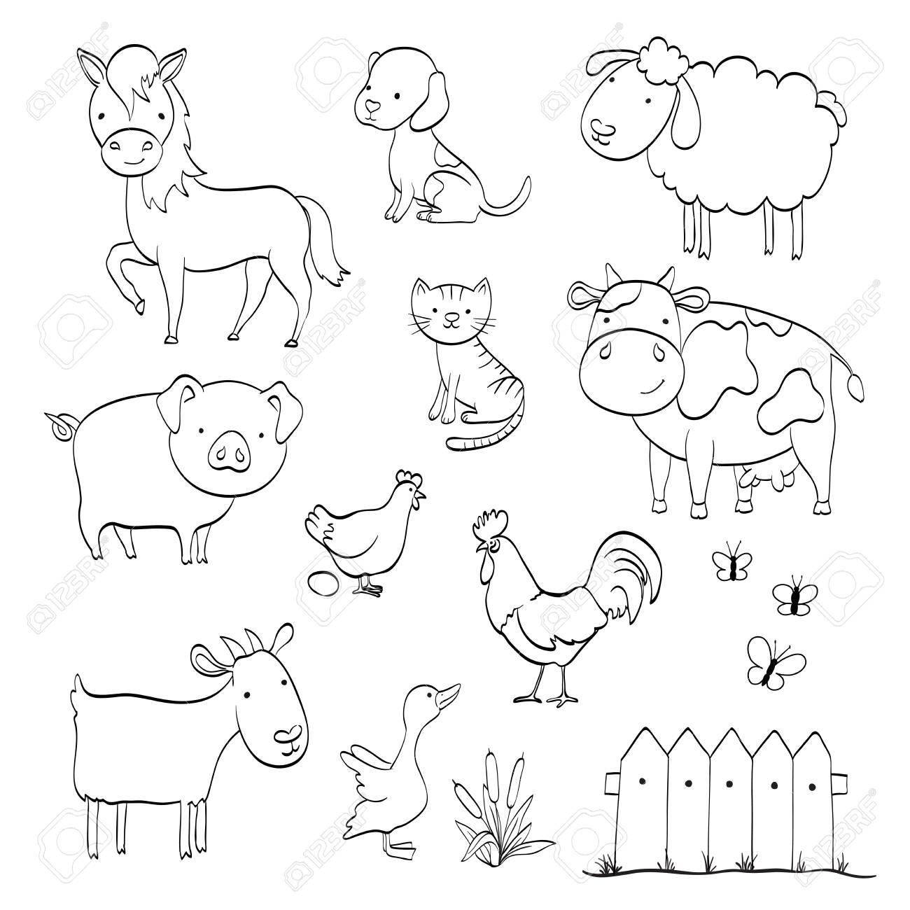 Página Para Colorear Con Dibujos Animados Conjunto De Animales De Granja Aislado En Blanco Ilustración Vectorial