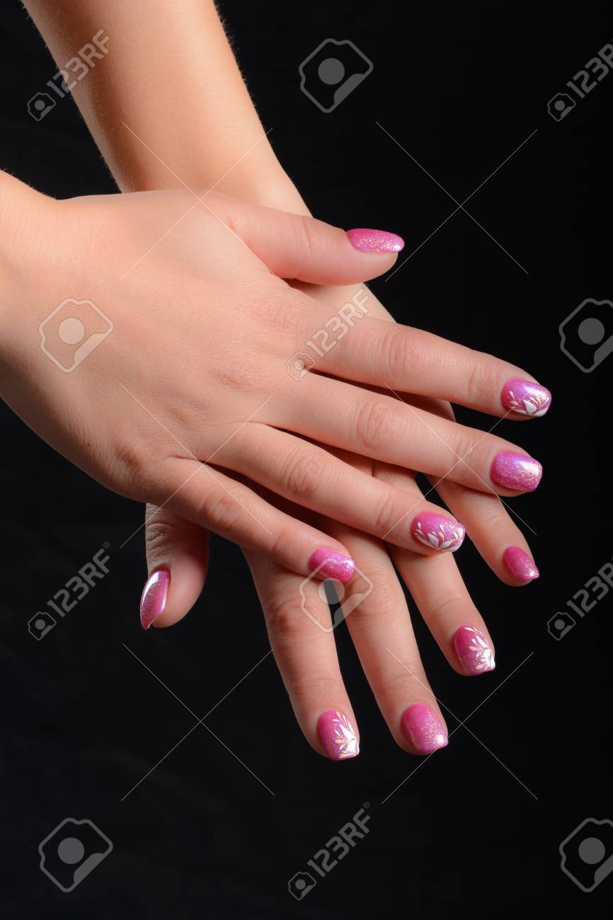 Nails Painted With Shades Of Pink And White Drawings Stock Photo Picture And Royalty Free Image Image 39185723