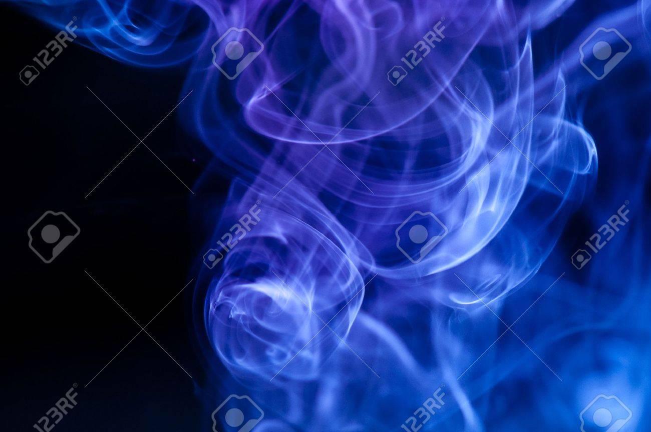 Blue Black Smoke Background Abstract Blue Smoke Over Black