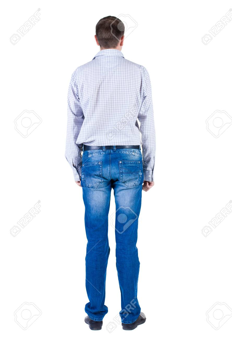 young expert looks ahead. rear view. Isolated over white . Stock Photo - 10864710