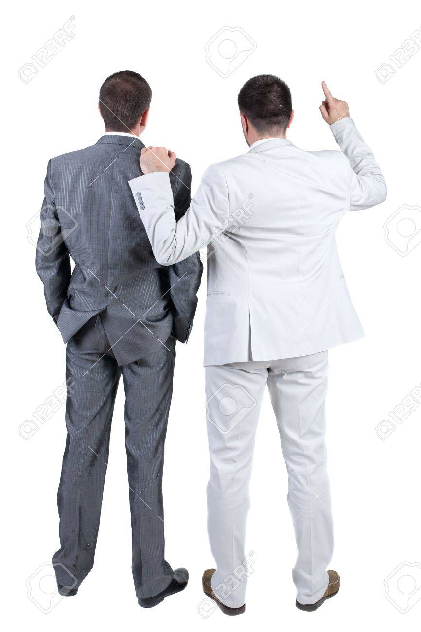 Two businessmen discuss. Rear view. Isolated over white background. Stock Photo - 10864753