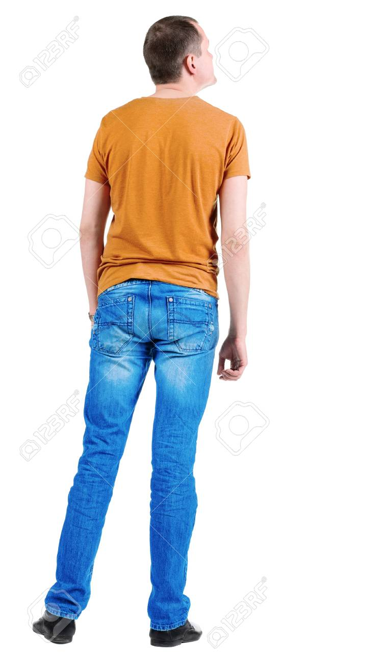 Back view of young men in  orange t-shirt. Rear view. Isolated over white background. Guy  looks away Stock Photo - 13355848