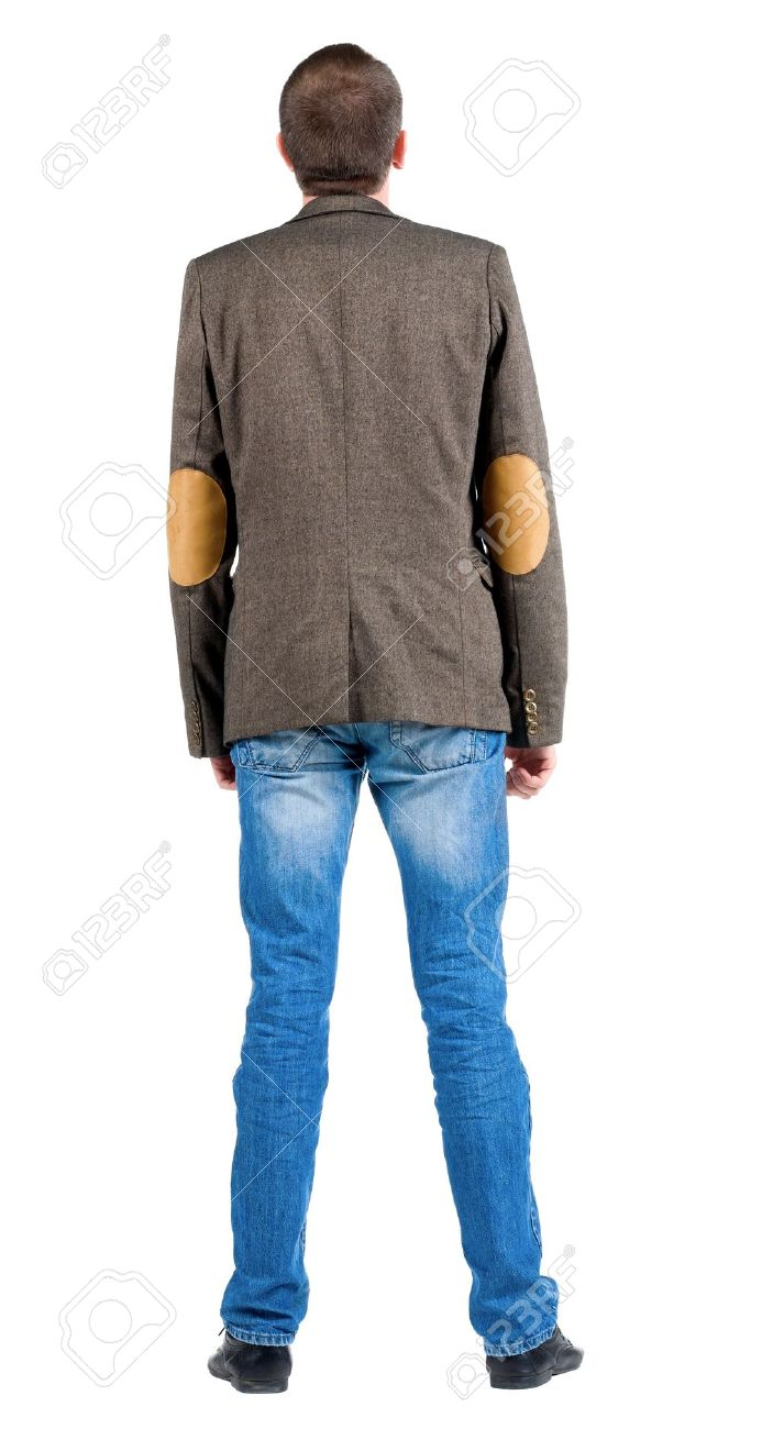 Back view of business man in jacket  looking up.  Standing young guy in jeans and suit jacket. Rear view people collection.  backside view of person.  Isolated over white background. Stock Photo - 13355927