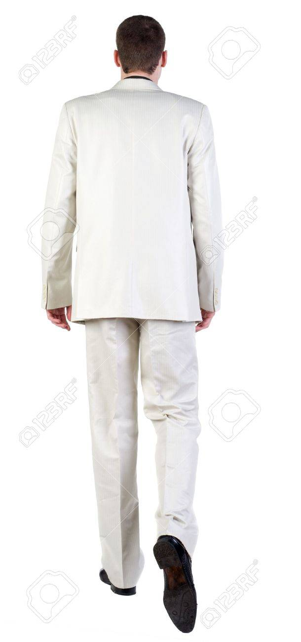 back view of going business man. walking young guy in white suit. Rear view people collection.  backside view of person.  Isolated over white background. Stock Photo - 13570039