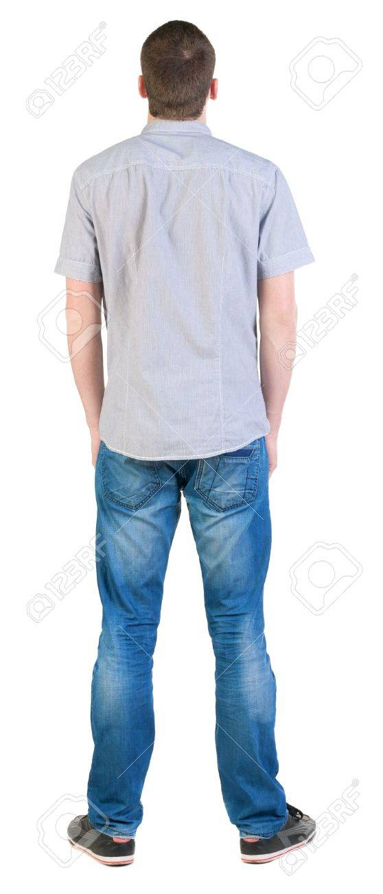 Back view of young men in  shirt and jeans.  Guy  looks away. Rear view people collection.  backside view of person.  Isolated over white background. Stock Photo - 13570056
