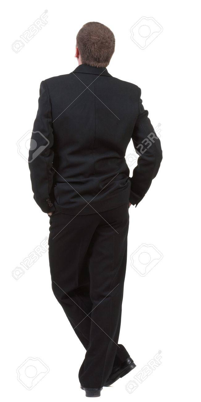 back view of Business man watching. Young guy in black suit looks ahead.  Rear view people collection.  backside view of person.  Isolated over white background Stock Photo - 13662728