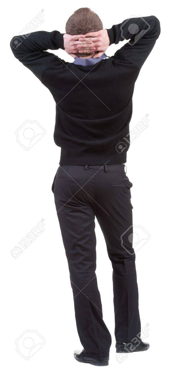 back view of Business man  looks ahead. Young guy watching. Stock Photo - 13683137