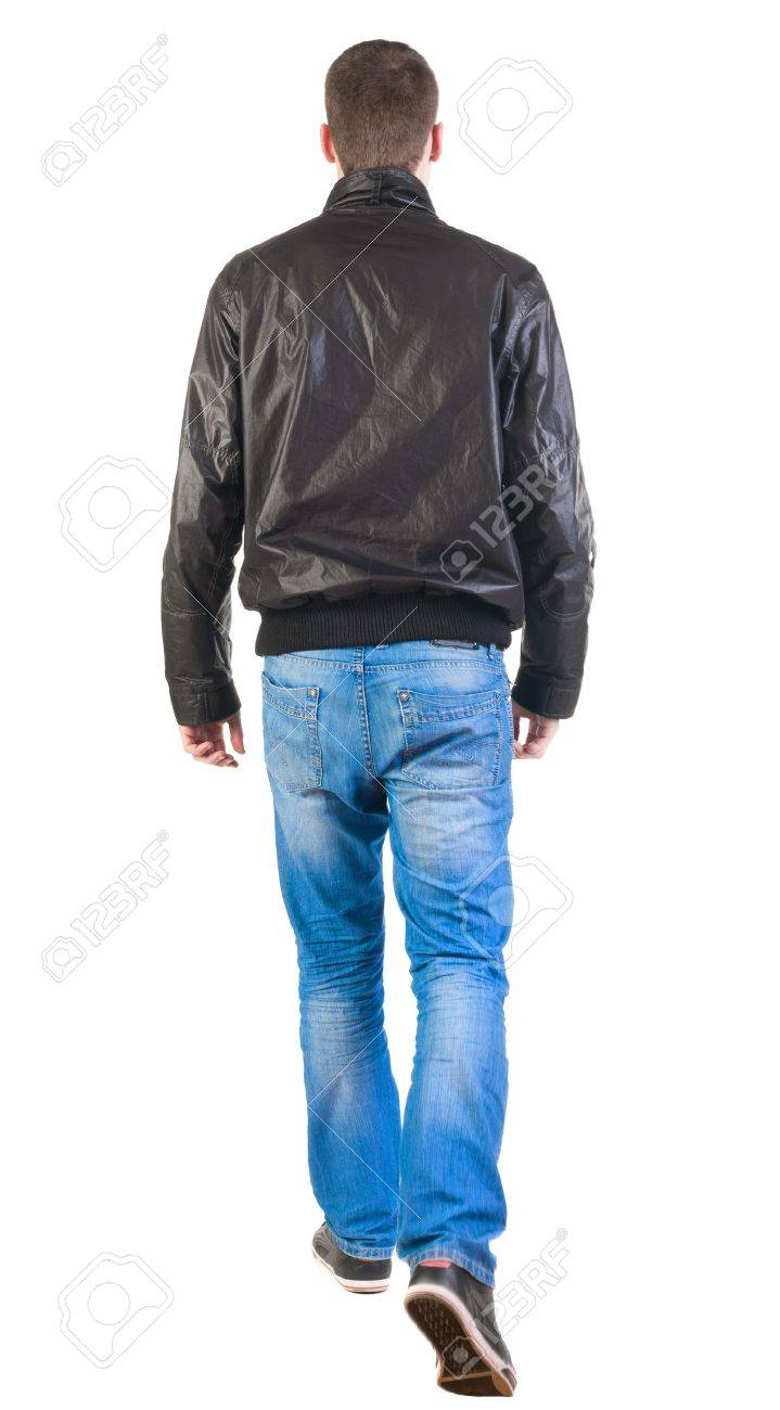Back View Of Walking Handsome Man In Jacket Going Young Guy Stock
