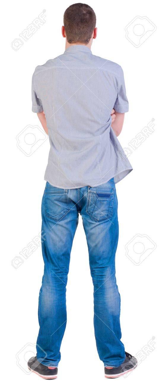 Vista Posterior De Los Jovenes En Camiseta Y Pantalones Vaqueros Hombre Mira Hacia Otro Lado Vista Posterior Recogida De Las Personas Trasero Vista De La Persona Aislado Sobre Fondo Blanco Fotos Retratos