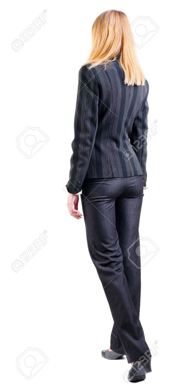 back view of walking business woman.  going young girl in black suit. Rear view people collection.  backside view of person.  Isolated over white background. Stock Photo - 13828435