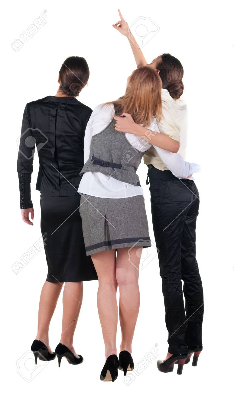 back view of business team. three young  woman pointing.  Rear view people collection.  backside view of person.  Isolated over white background. Stock Photo - 15072224