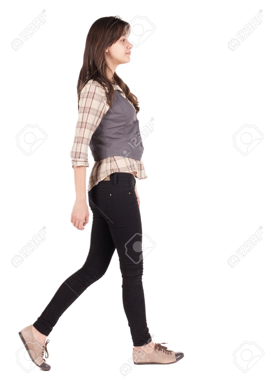 back view of walking woman . going brunette girl in motion. Rear view people collection. backside view of person. Isolated over white background. - 15072145