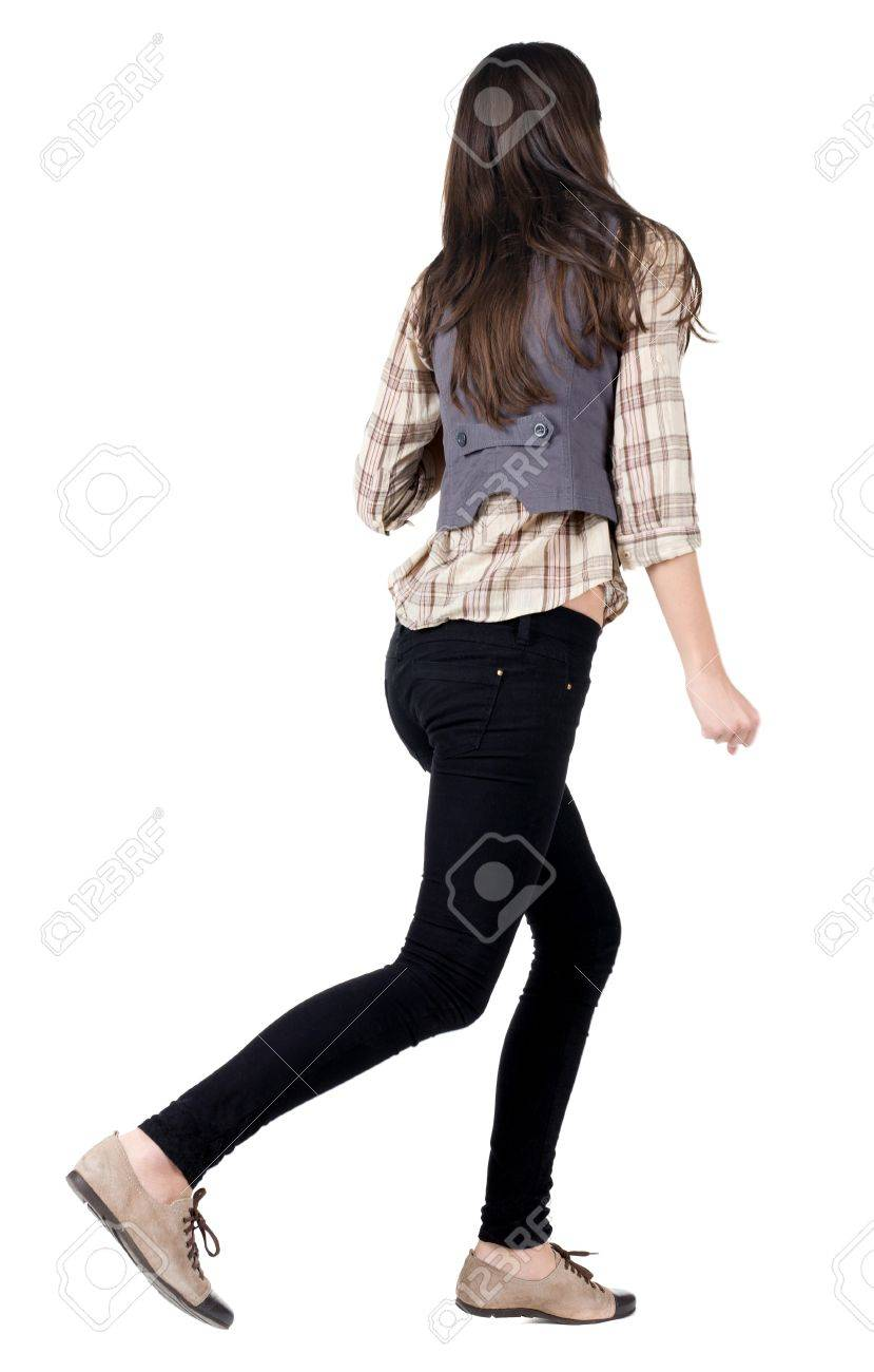 back view of running brunette girl. girl walking on the motion move. Rear view people collection.  backside view of person. Isolated over white background. Stock Photo - 15835428