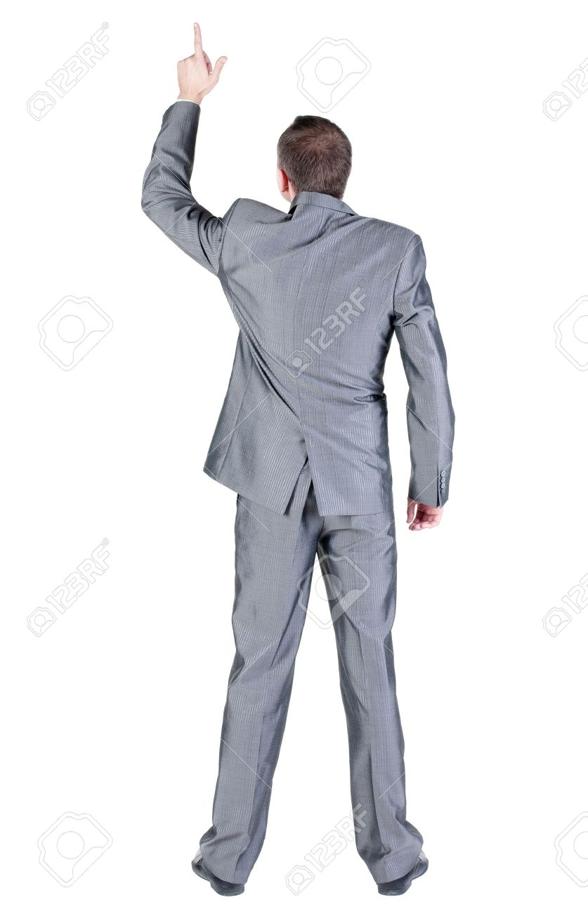 Back view of businessman pointing at wall. Rear view people collection.  backside view of person.  Isolated over white background. Stock Photo - 15835427