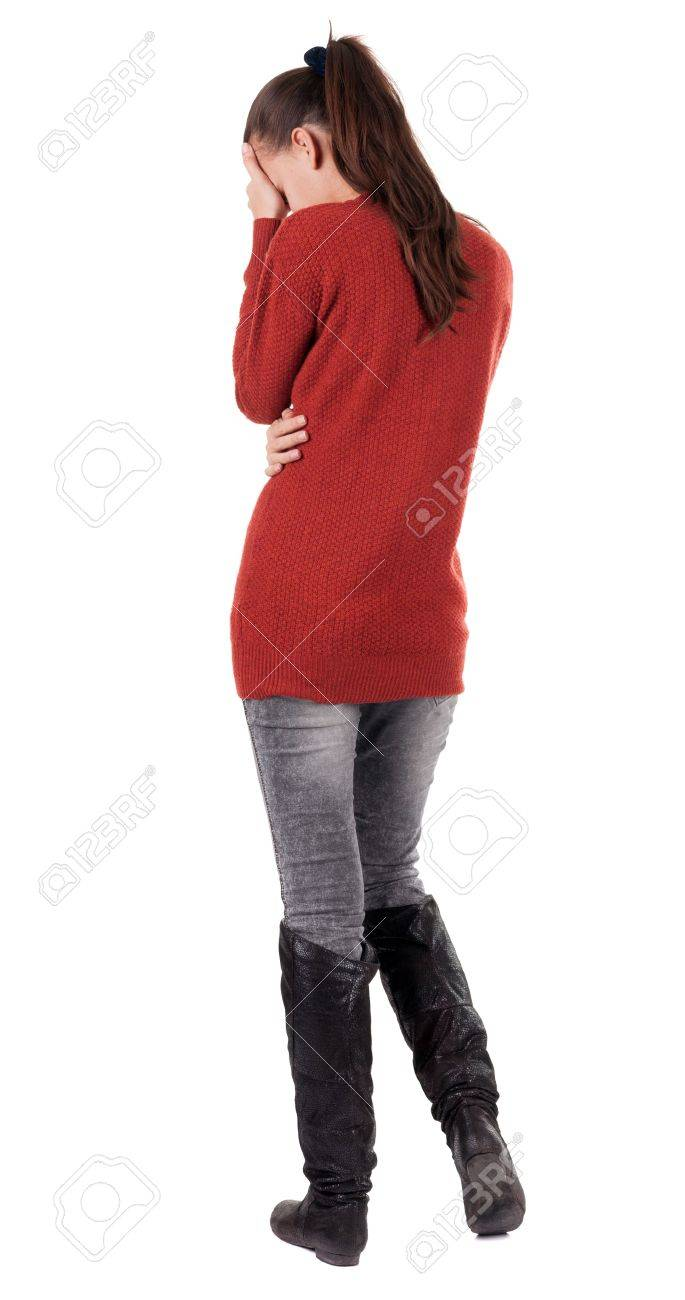 back view of standing young beautiful  woman.  brunette girl in jeans . Rear view people collection.  backside view of person.  Isolated over white background. Stock Photo - 16306224