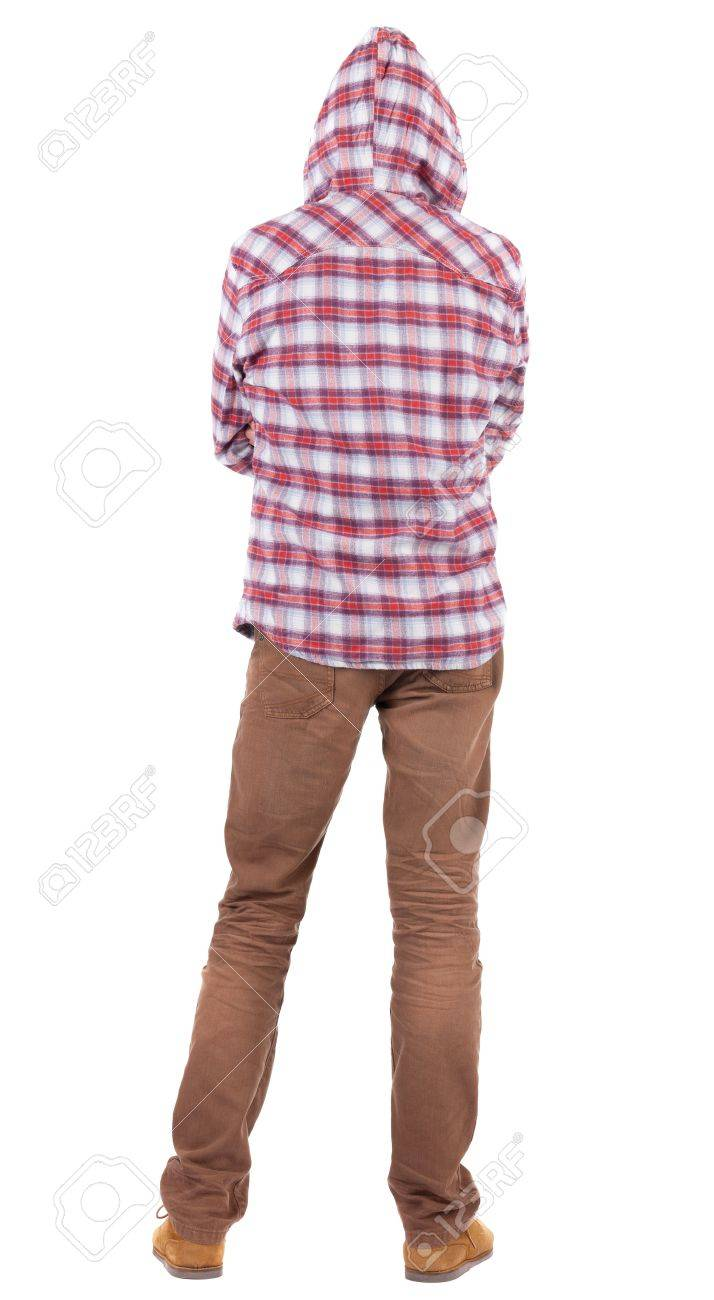 Back view of guy in a plaid shirt with hood  looking. Standing young guy in jeans and  jacket. Rear view people collection.  backside view of person.  Isolated over white background. Stock Photo - 16306242