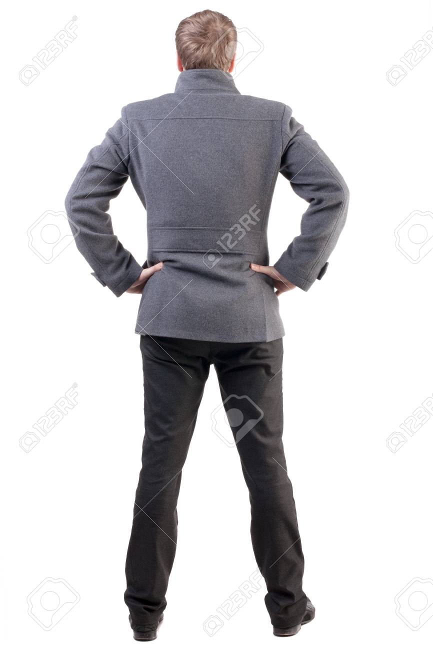meilleure collection magasiner pour le meilleur sortie de gros Vue arrière de bel homme d'affaires dans le manteau. Debout jeune homme  d'affaires. mannequin posant l'homme dans des vêtements d'automne. Vue  arrière ...
