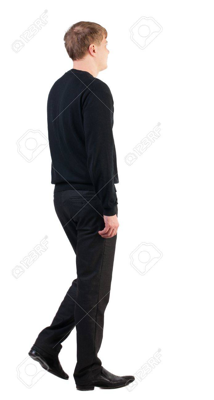 back view of walking  business man. doomed man goes to work. going young guy in red shirt. stylishly dressed in formal wear young man. Isolated over white background. Rear view people collection.  backside view of person. Stock Photo - 18600650