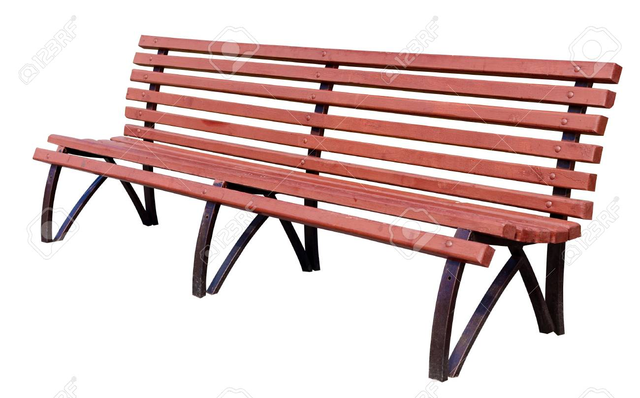 yellow park bench . Isolated over white background . Stock Photo - 19112370