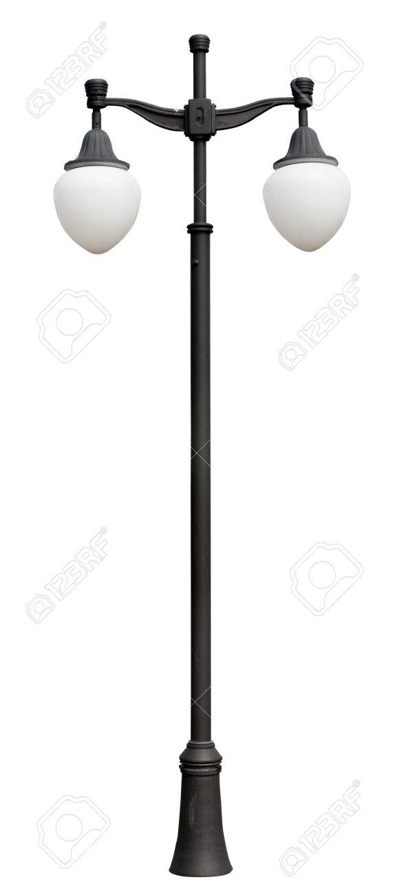 Lamppost. Electric Street Light. Isolated On White Background. Street  Lighting Black Lamp Post