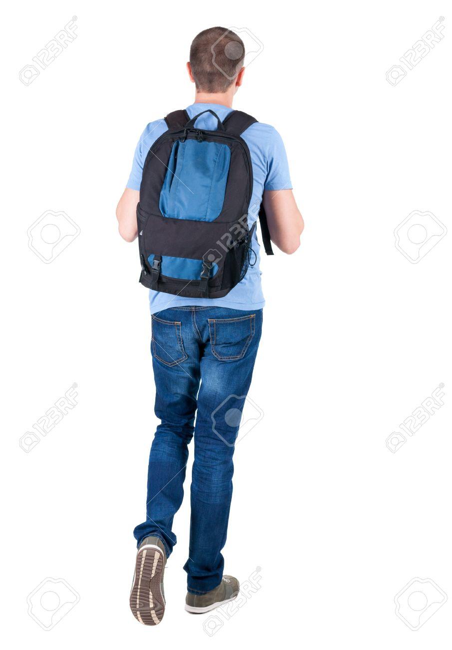 Vue de dos de l'homme de marche avec sac à dos. brunette gars en mouvement. vue arrière de la personne. Vue arrière des gens de collecte. Isolé sur