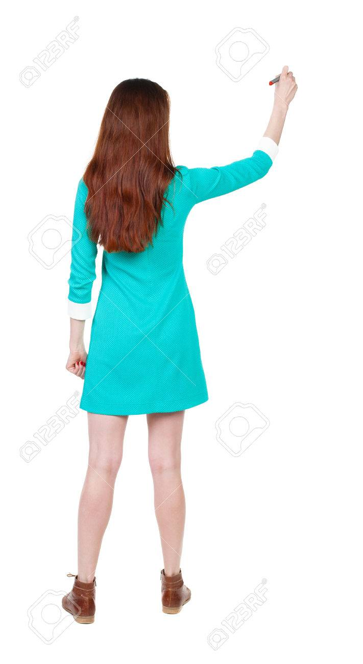 Back View Of Writing Beautiful Woman Young Girl In Dress Rear