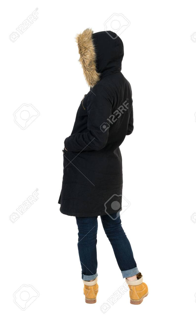 06993827a Back View Woman In Winter Jacket Looking Up. Standing Young.. Stock ...