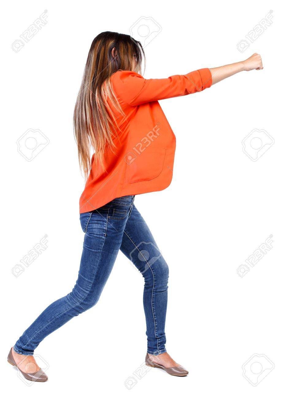 Image of: Funny Pranks Back View Of Woman Funny Fights Waving His Arms And Legs Rear View People Collection 123rfcom Back View Of Woman Funny Fights Waving His Arms And Legs Rear
