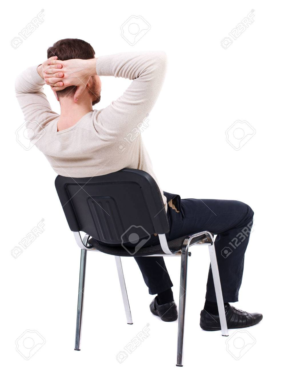 Man sitting in chair side - Back View Of Business Man Sitting On Chair Businessman Watching Rear View People Collection