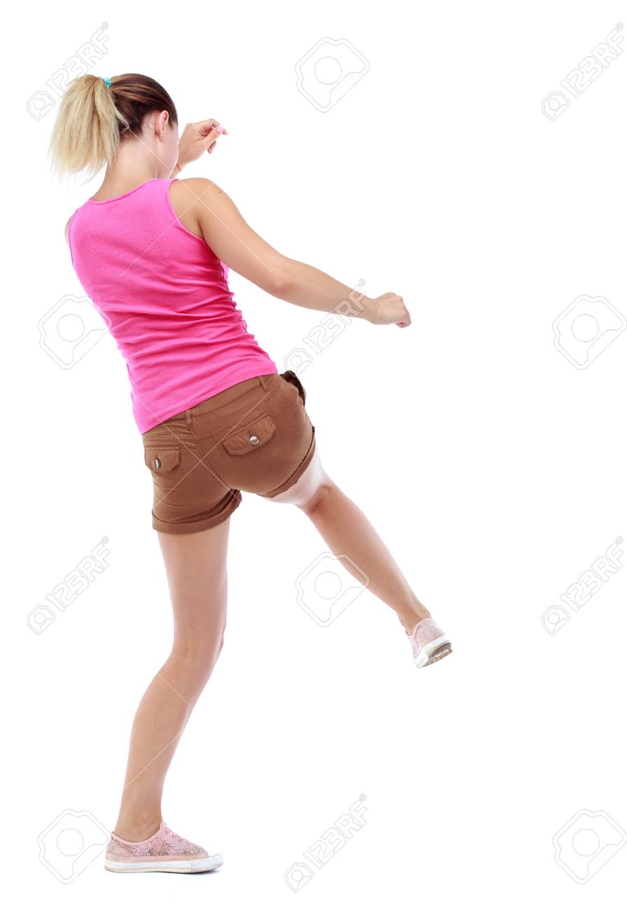 Image of: Clips Back View Of Woman Funny Fights Waving His Arms And Legs Rear View People Collection Shutterstock Back View Of Woman Funny Fights Waving His Arms And Legs Rear