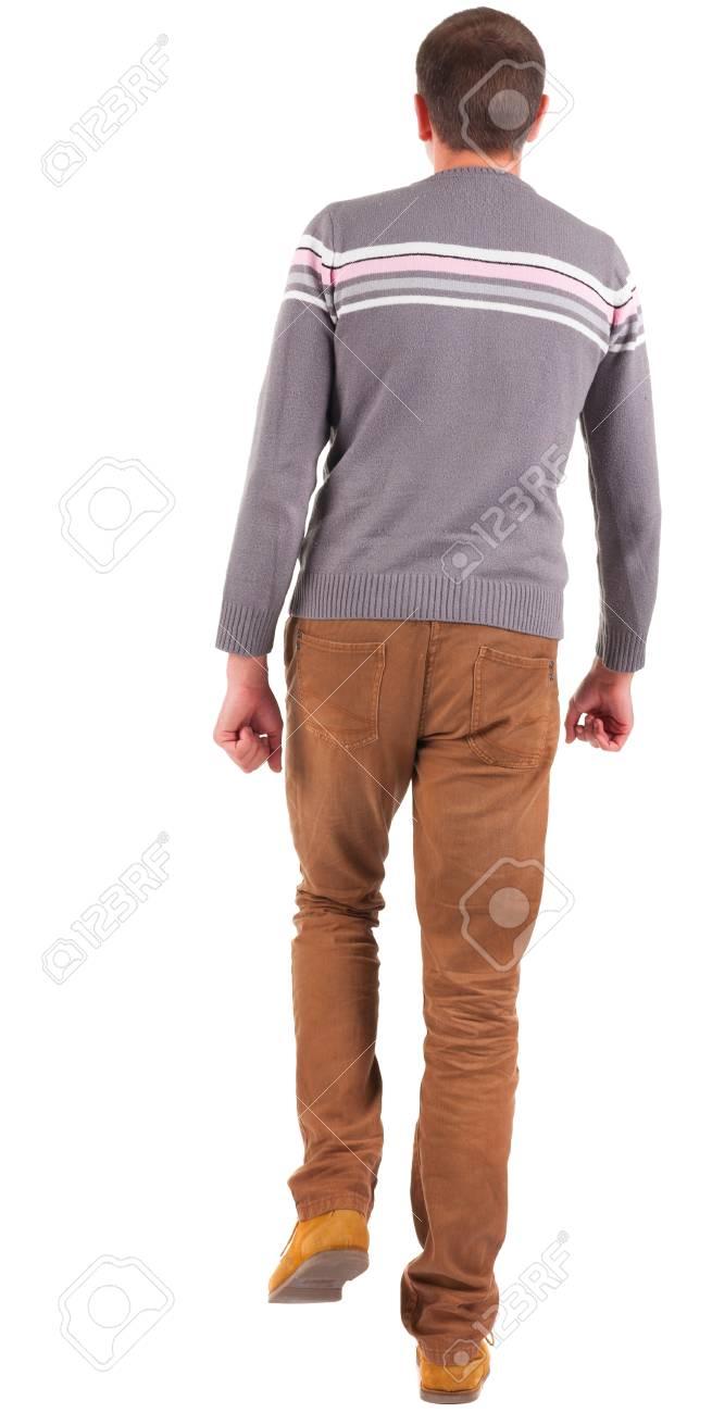 Arrière MarronJeune Jean VesteCollection Personnes De L'homme Qui En Et Arrière Dans Vue Homme Chandail Un Jeans Marche PZiXuk