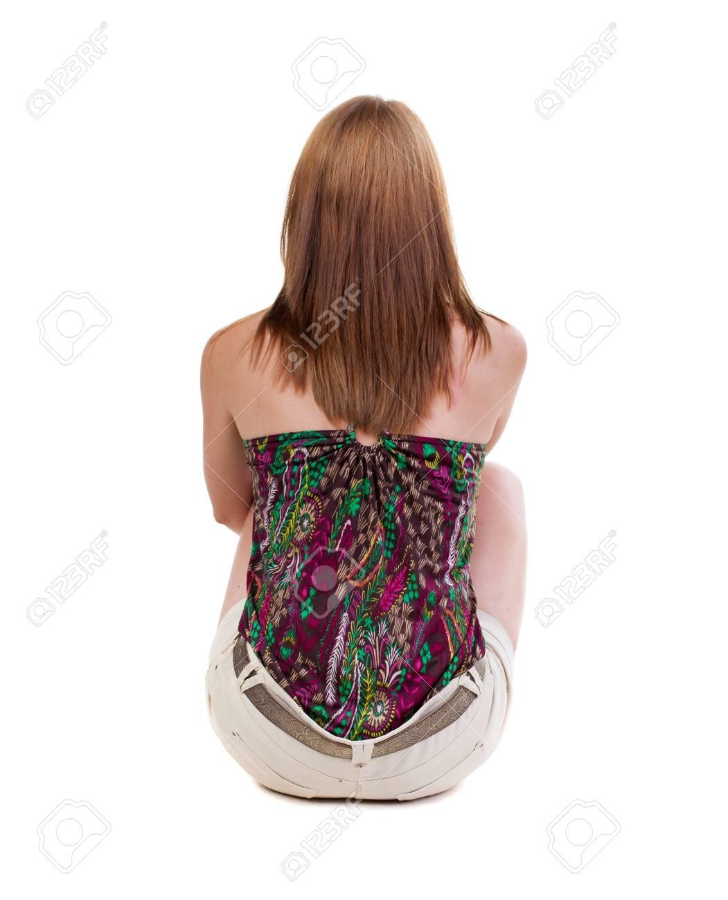 Hermosa Del Vista Cortocircuitos Rubia Posterior Joven En Mujer Pie nSnCwfqzxa