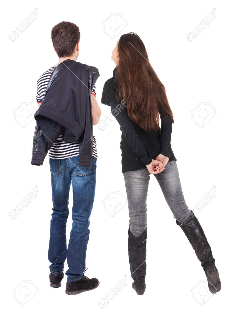 Back view of couple. beautiful friendly girl and guy together. Rear view people collection. backside view of person. Isolated over white background. - 135227506