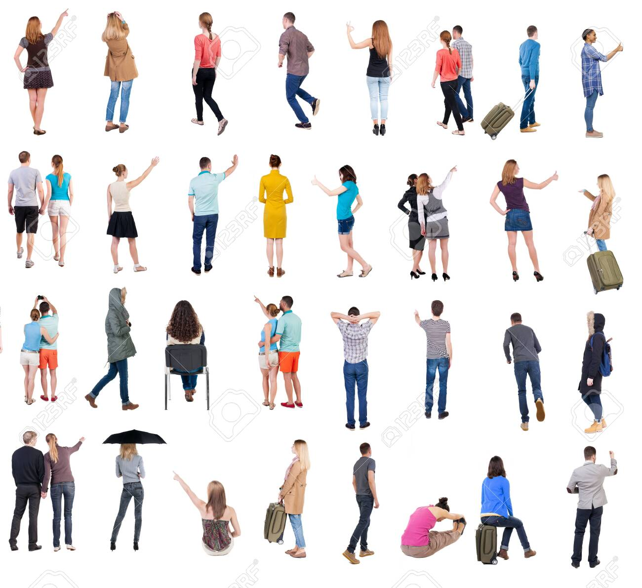 Collection Back view people. Rear view people set. backside view of person. Isolated over white background. many people standing with their backs. - 141049114