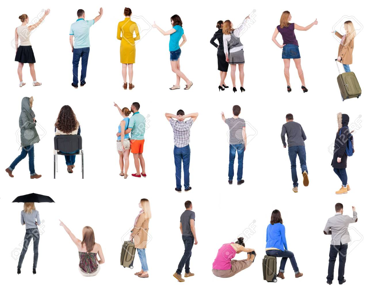 Collection Back view people. Rear view people set. backside view of person. Isolated over white background. many people standing with their backs. - 141049018