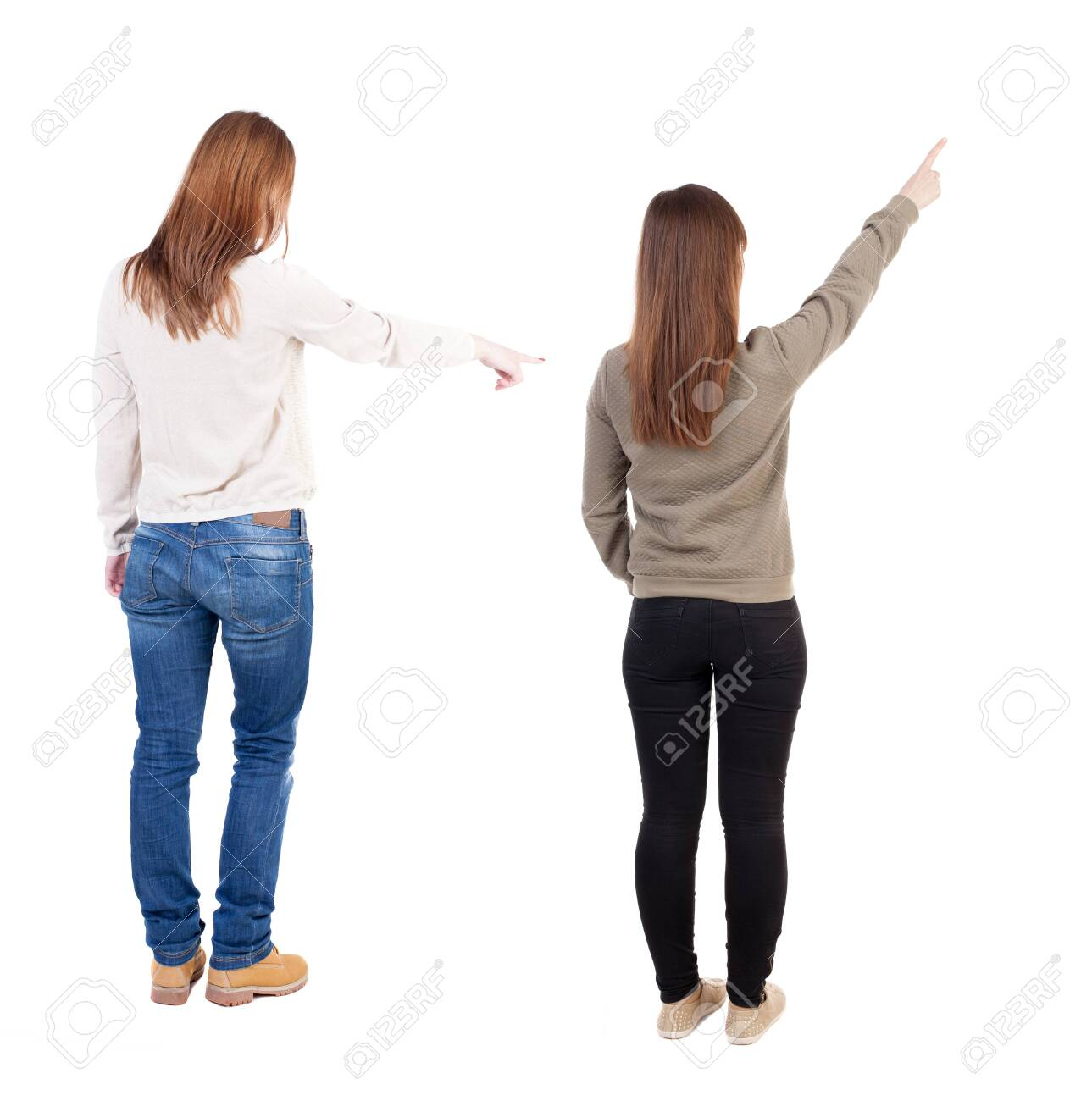 Back view of two pointing girl in sweater. Rear view people collection. backside view of person. beautiful woman showing gesture. Rear view. Isolated over white background. - 145784756