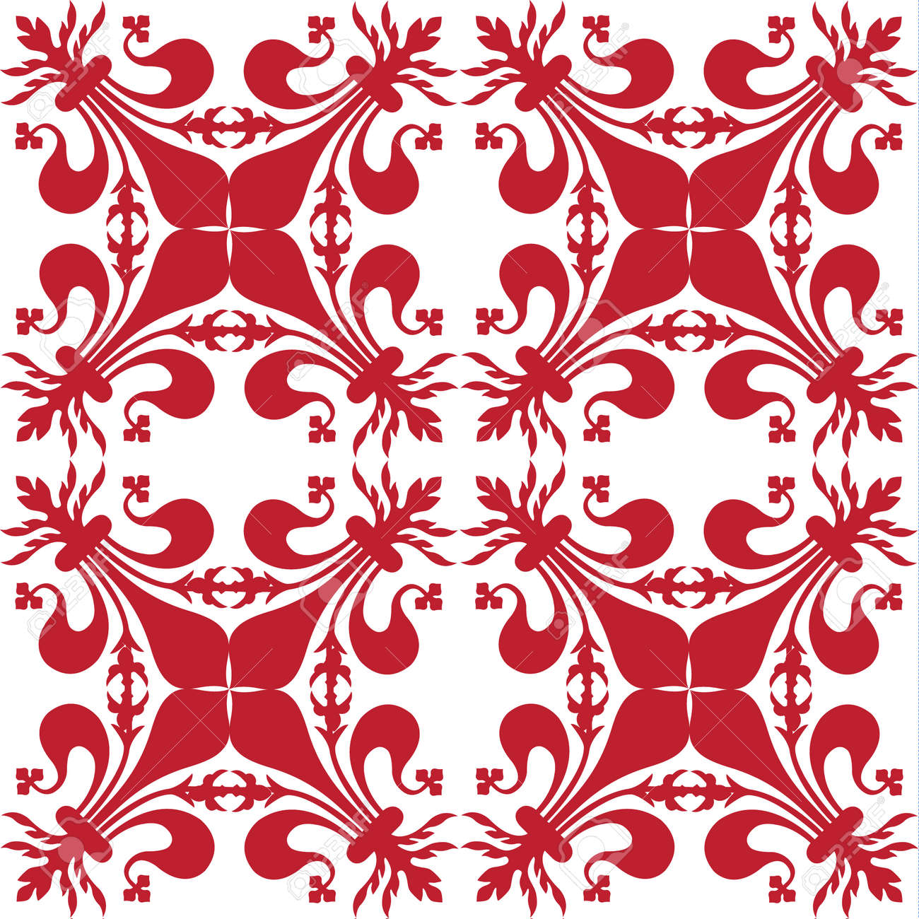 Pattern background with red florentine lily - 167916696