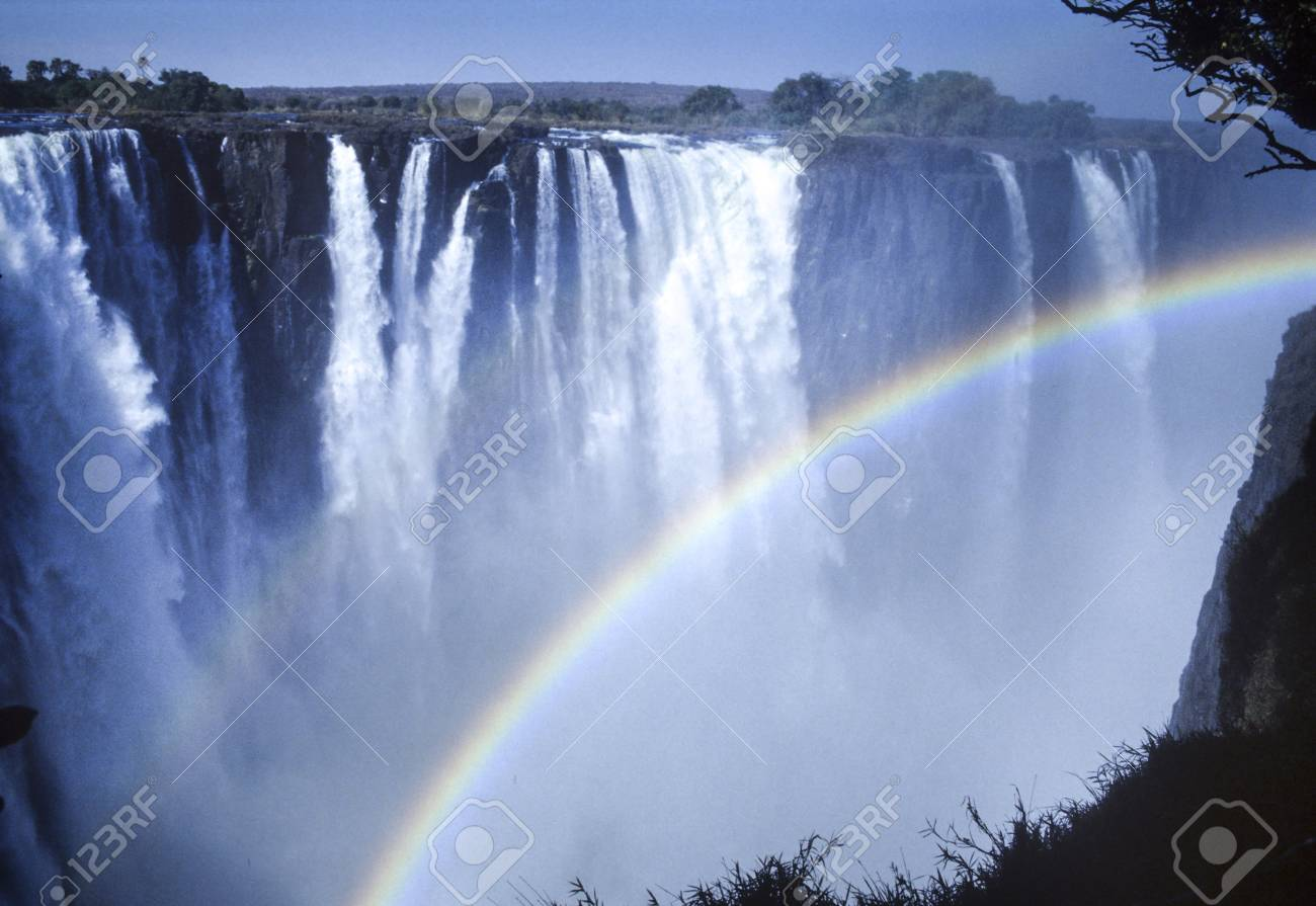 Rainbow On The Victoria Falls Zimbabwe Africa