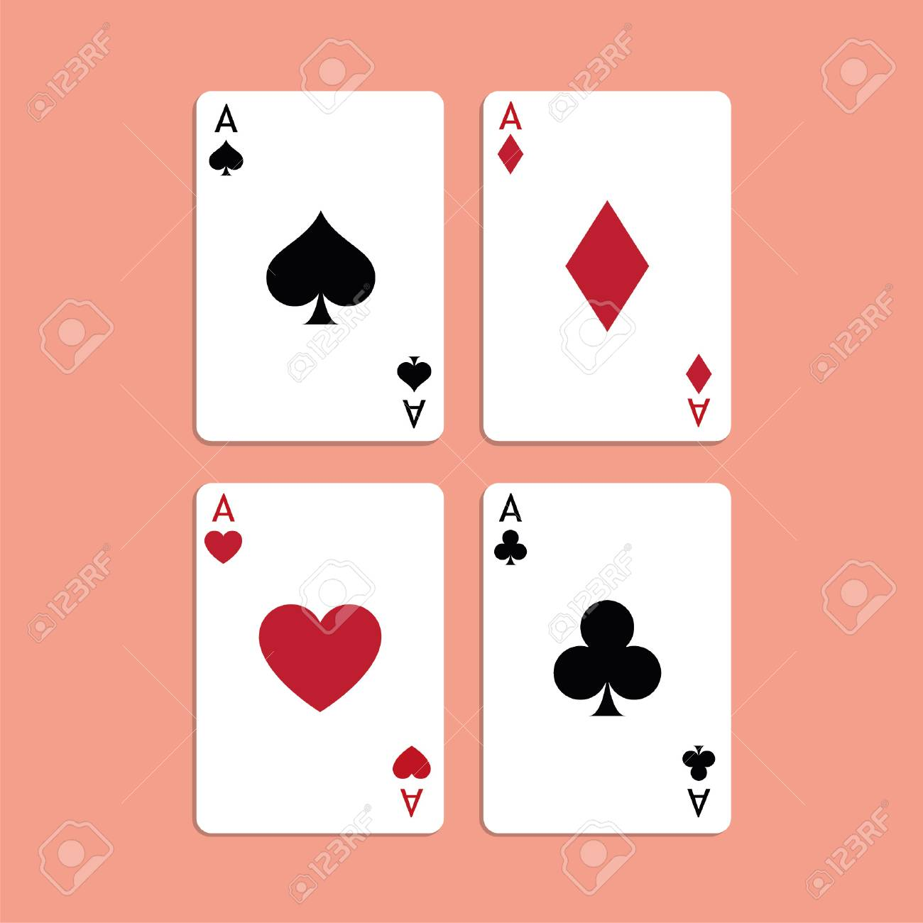 Vector Illustration Playing Poker Cards Four Aces Royalty Free Cliparts Vectors And Stock Illustration Image 115043136