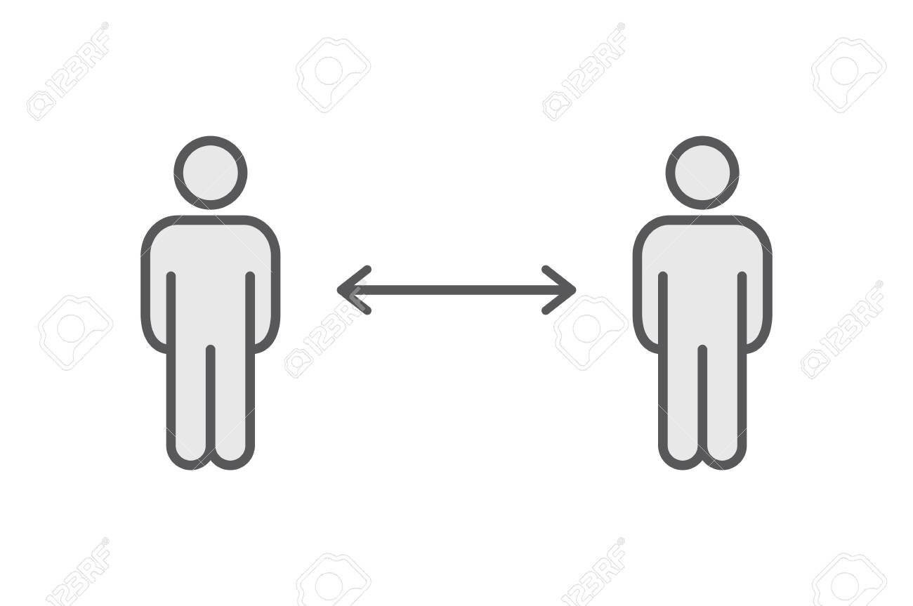 Keep distance sign. Coronavirus pandemic social distance. Preventive measures. Keep distance. Vector illustration. - 144234585