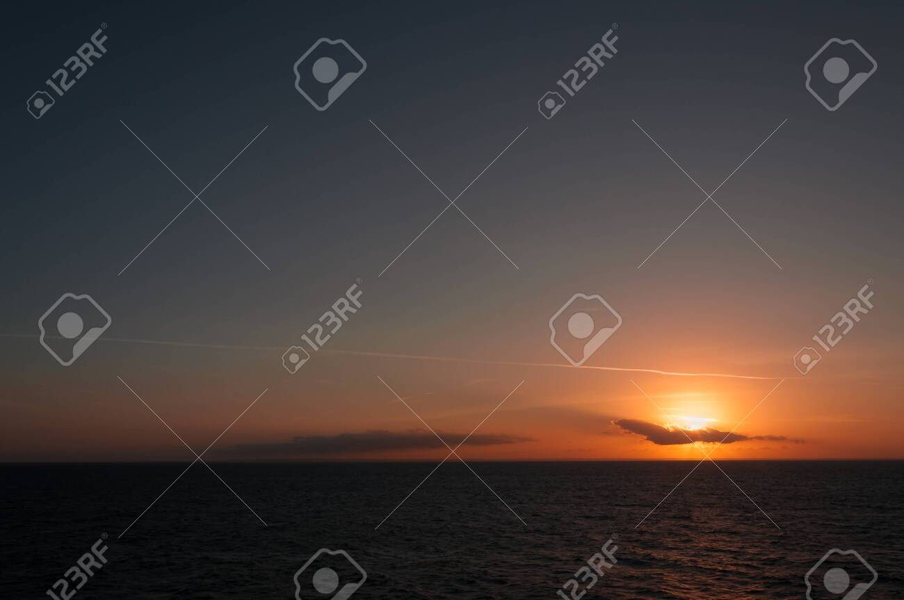 Wonderful colorful sky with clouds during sunset on the Adriatic coast, Puglia, Italy. Concept: spectacular panorama, tranquility, serenity, inspiration - 146344748