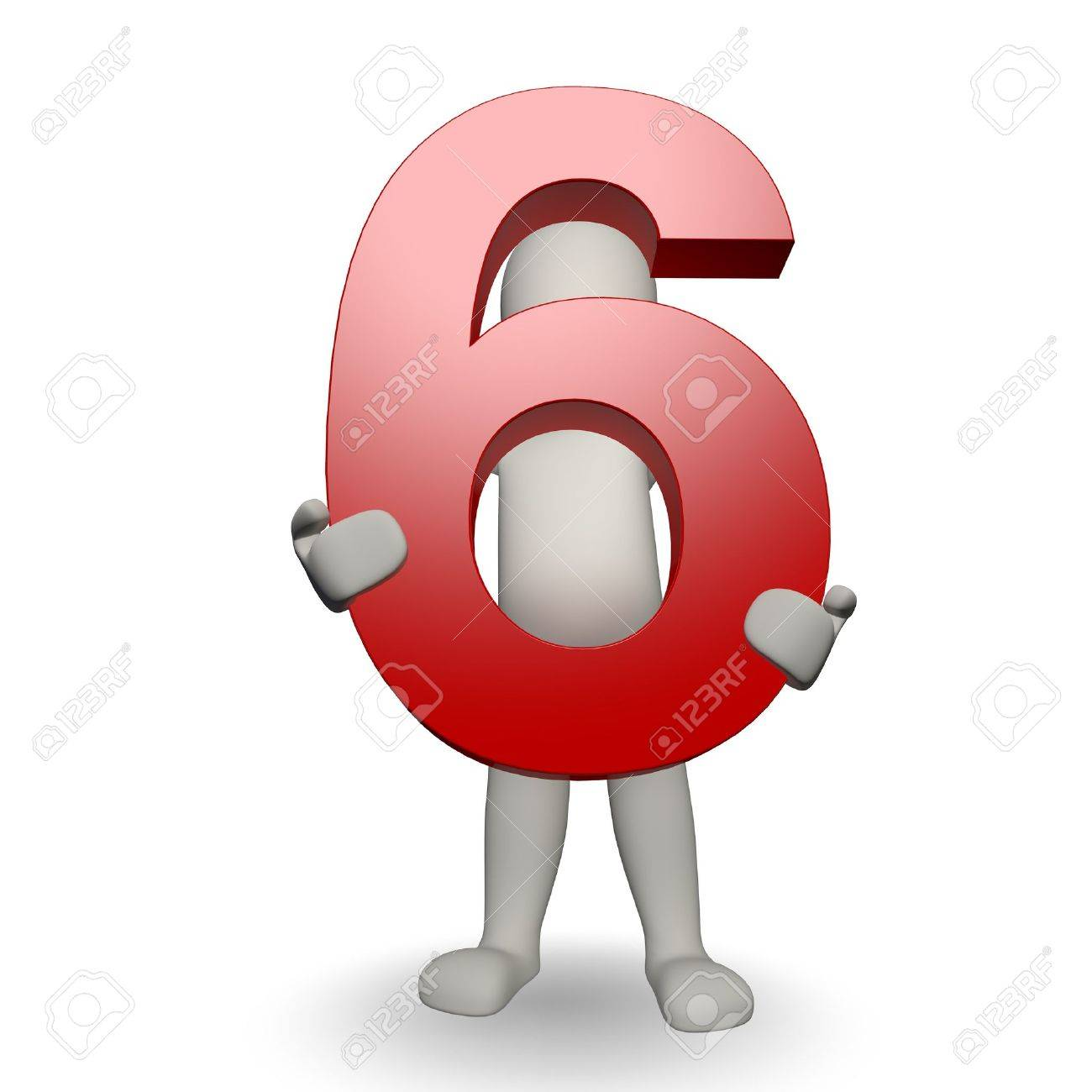 3D Human charcter holding number six, 3d render, isolated on white Stock Photo - 10955924