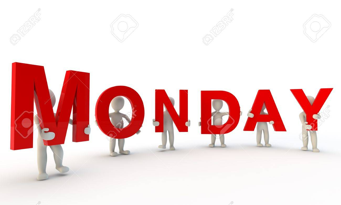 Monday Word red word Monday made from