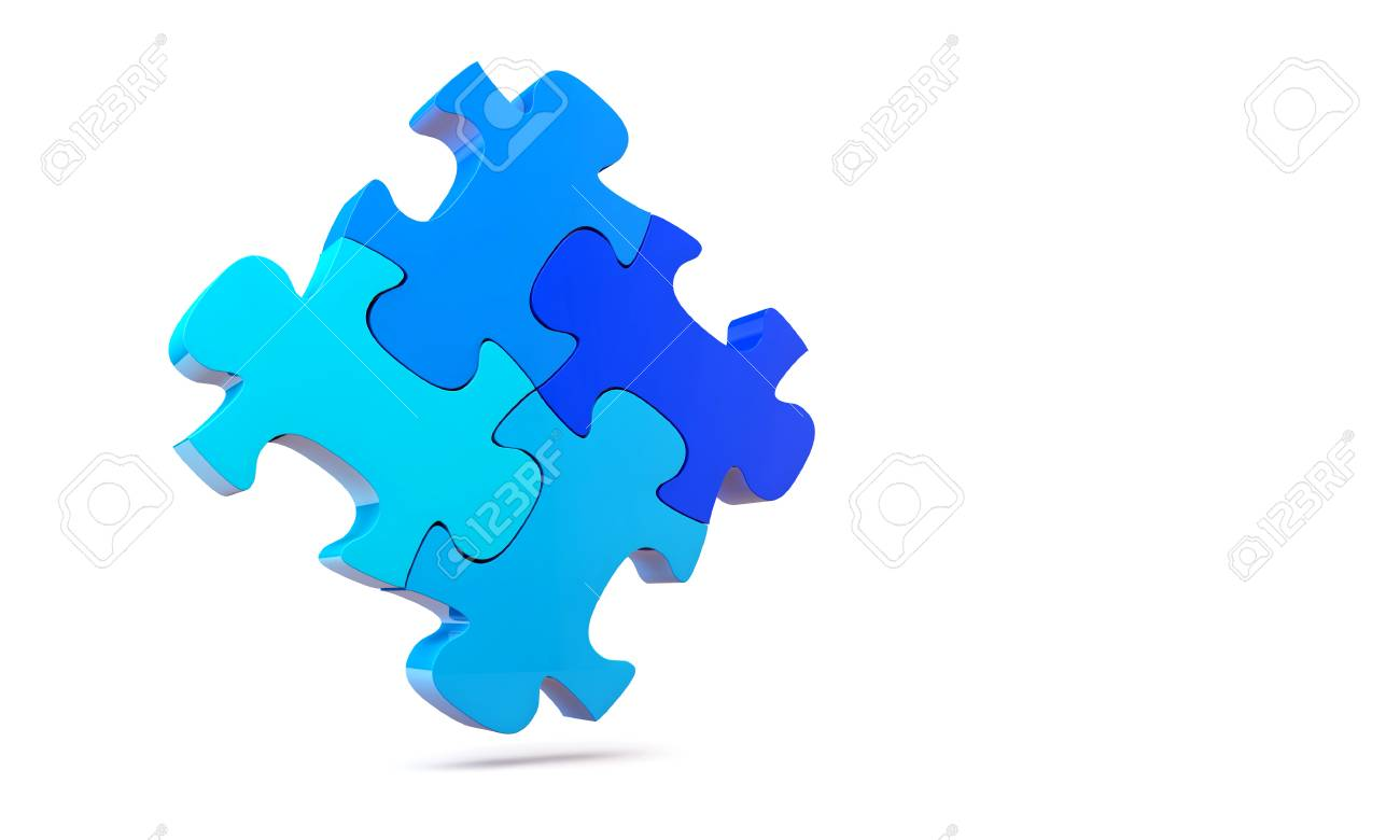 Colorfull jigsaw puzzle, 3d render isolated on white Stock Photo - 24062308